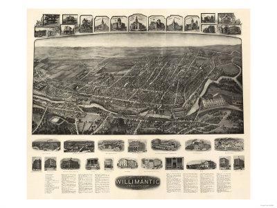 Willimantic, Connecticut - Panoramic Map-Lantern Press-Framed Art Print