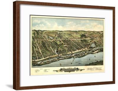Windsor Locks, Connecticut - Panoramic Map-Lantern Press-Framed Art Print