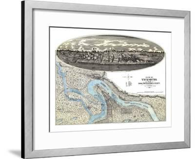 Vicksburg, Mississippi - Panoramic Map-Lantern Press-Framed Art Print