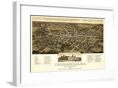 Thomasville, Georgia - Panoramic Map-Lantern Press-Framed Art Print