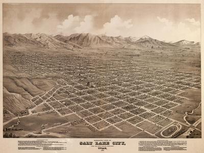 Salt Lake City, Utah - Panoramic Map-Lantern Press-Stretched Canvas Print