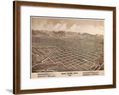 Salt Lake City, Utah - Panoramic Map-Lantern Press-Framed Art Print