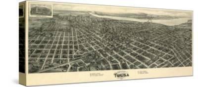 Tulsa, Oklahoma - Panoramic Map-Lantern Press-Stretched Canvas Print