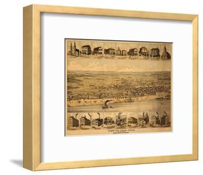 Tell City, Indiana - Panoramic Map-Lantern Press-Framed Art Print