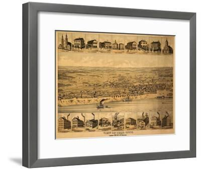 Tell City, Indiana - Panoramic Map-Lantern Press-Framed Art Print