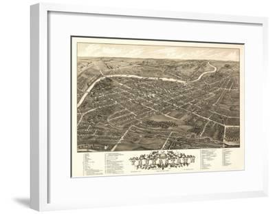 Youngstown, Ohio - Panoramic Map-Lantern Press-Framed Art Print