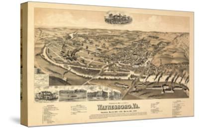 Waynesboro, Virginia - Panoramic Map-Lantern Press-Stretched Canvas Print