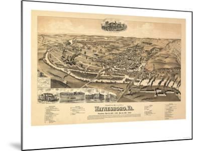 Waynesboro, Virginia - Panoramic Map-Lantern Press-Mounted Art Print