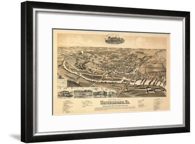 Waynesboro, Virginia - Panoramic Map-Lantern Press-Framed Art Print