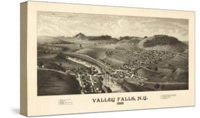Valley Falls, New York - Panoramic Map-Lantern Press-Stretched Canvas Print