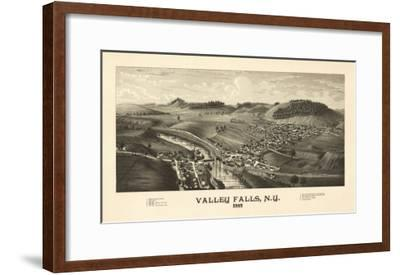 Valley Falls, New York - Panoramic Map-Lantern Press-Framed Art Print