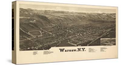 Warsaw, New York - Panoramic Map-Lantern Press-Stretched Canvas Print