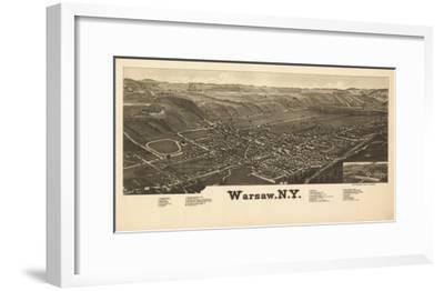 Warsaw, New York - Panoramic Map-Lantern Press-Framed Art Print