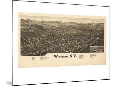 Warsaw, New York - Panoramic Map-Lantern Press-Mounted Art Print