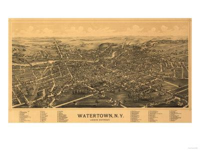 Watertown, New York - Panoramic Map-Lantern Press-Framed Art Print