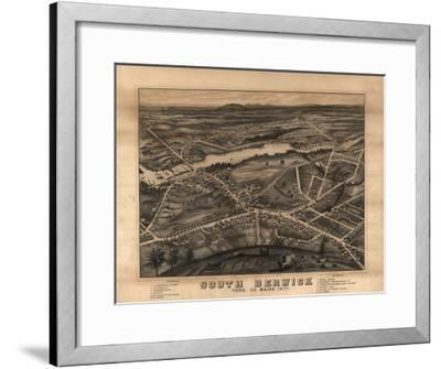 South Berwick, Maine - Panoramic Map-Lantern Press-Framed Art Print