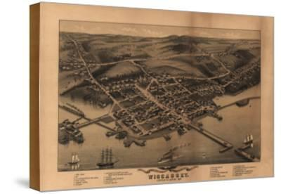 Wiscasset, Maine - Panoramic Map-Lantern Press-Stretched Canvas Print