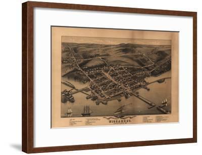 Wiscasset, Maine - Panoramic Map-Lantern Press-Framed Art Print