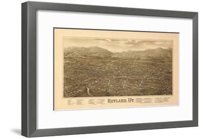 Rutland, Vermont - Panoramic Map-Lantern Press-Framed Art Print