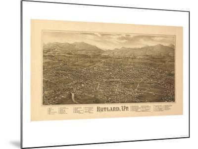 Rutland, Vermont - Panoramic Map-Lantern Press-Mounted Art Print