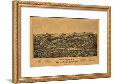 White River Junction, Vermont - Panoramic Map-Lantern Press-Framed Art Print