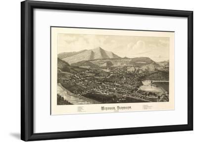 Windsor, Vermont - Panoramic Map-Lantern Press-Framed Art Print