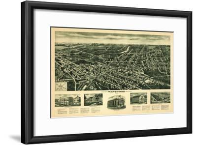 Westwood, New Jersey - Panoramic Map-Lantern Press-Framed Art Print