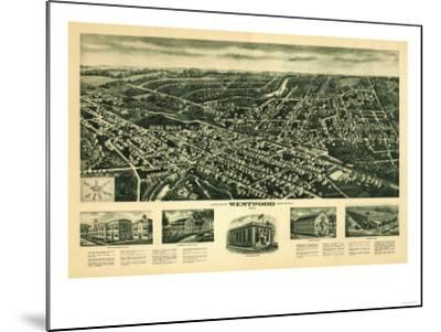 Westwood, New Jersey - Panoramic Map-Lantern Press-Mounted Art Print