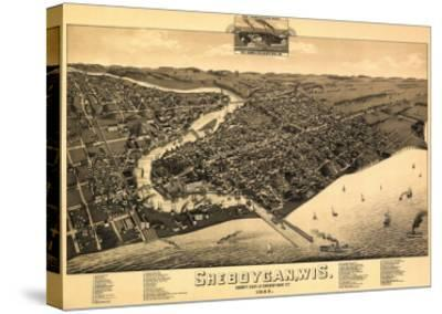Sheboygan, Wisconsin - Panoramic Map-Lantern Press-Stretched Canvas Print