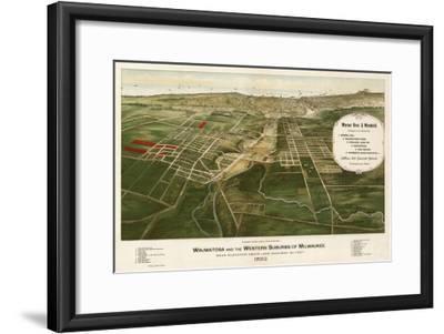 Wauwatosa, Wisconsin - Panoramic Map-Lantern Press-Framed Art Print