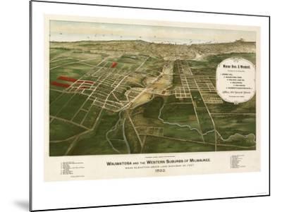 Wauwatosa, Wisconsin - Panoramic Map-Lantern Press-Mounted Art Print