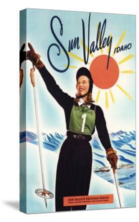 Sun Valley, Idaho - Gretchen Fraser Advertisement Poster-Lantern Press-Stretched Canvas Print