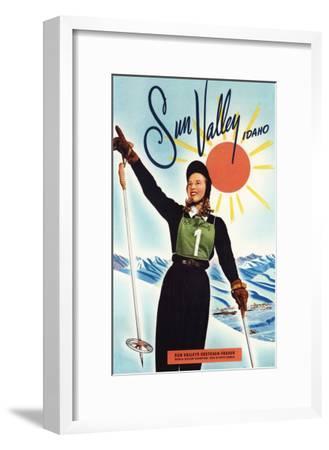 Sun Valley, Idaho - Gretchen Fraser Advertisement Poster-Lantern Press-Framed Art Print