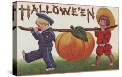 Halloween Greeting - Carrying Pumpkin-Lantern Press-Stretched Canvas Print
