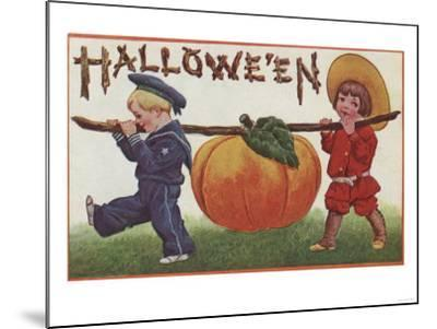 Halloween Greeting - Carrying Pumpkin-Lantern Press-Mounted Art Print
