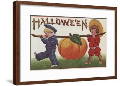 Halloween Greeting - Carrying Pumpkin-Lantern Press-Framed Art Print
