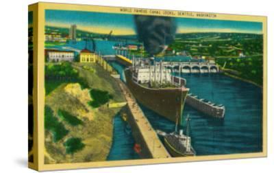 Government Locks, Ballard Locks, Seattle - Seattle, WA-Lantern Press-Stretched Canvas Print