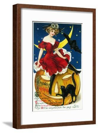 Halloween Greetings Woman on Jack-o-Lantern Scene-Lantern Press-Framed Art Print