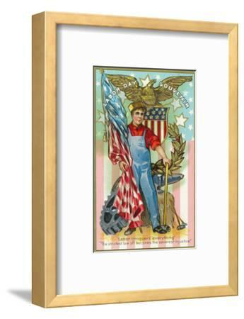 Labor Day Souvenir Labor Holding US Flag and Sledgehammer-Lantern Press-Framed Art Print