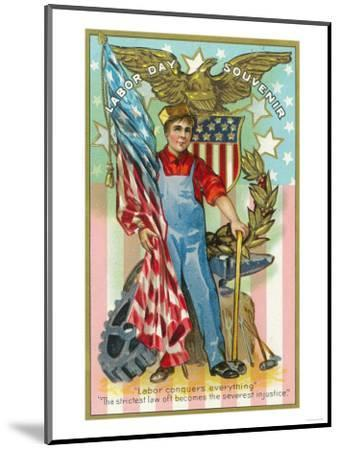 Labor Day Souvenir Labor Holding US Flag and Sledgehammer-Lantern Press-Mounted Art Print