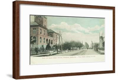 Exterior View of Public Library on Santa Clara Ave - Alameda, CA-Lantern Press-Framed Art Print
