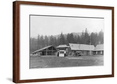 Exterior View of Plasse's Resort - Amador County, CA-Lantern Press-Framed Art Print