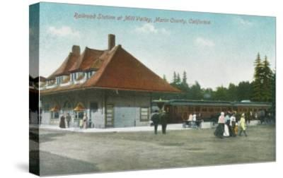 Exterior View of the Railway Station - Mill Valley, CA-Lantern Press-Stretched Canvas Print