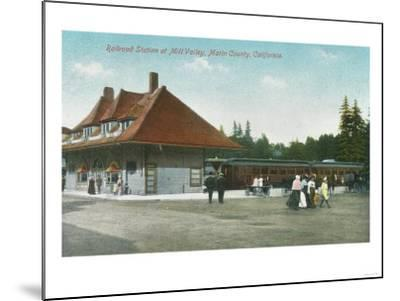 Exterior View of the Railway Station - Mill Valley, CA-Lantern Press-Mounted Art Print