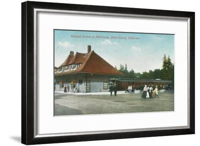 Exterior View of the Railway Station - Mill Valley, CA-Lantern Press-Framed Art Print
