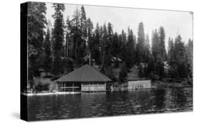 Lake View of Big Springs and Docks - Lake Almanor, CA-Lantern Press-Stretched Canvas Print