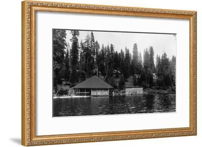 Lake View of Big Springs and Docks - Lake Almanor, CA-Lantern Press-Framed Art Print
