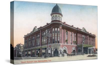 Exterior View of the Hotel Stewart - San Bernardino, CA-Lantern Press-Stretched Canvas Print