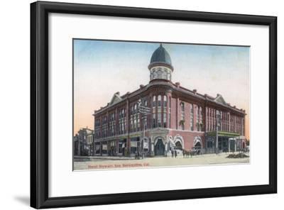 Exterior View of the Hotel Stewart - San Bernardino, CA-Lantern Press-Framed Art Print
