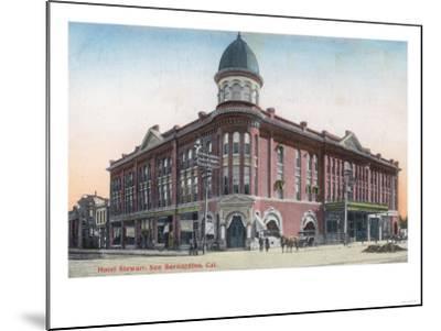 Exterior View of the Hotel Stewart - San Bernardino, CA-Lantern Press-Mounted Art Print